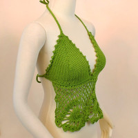 Green Crochet Bikini Top - Lime Lace Halter - Festival Crop Top - Hippie Summer Bra Top