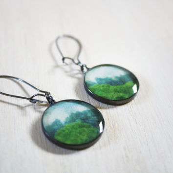 Nature Earrings vintage mountain upcycled by DarlingStudio