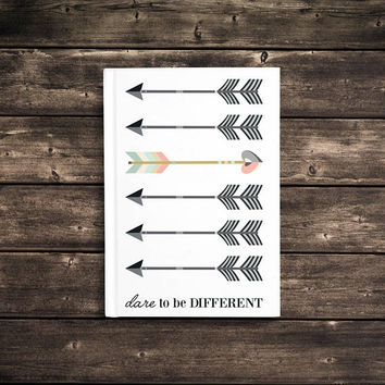 Dare To Be Different - 5x7 Writing Journal, cute custom notebook, personalized gift, arrows hardbound journal, blank or lined pages