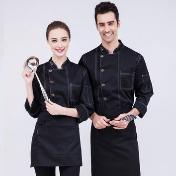 2018 New Design Chefs White Coat Men and Women Fall/Winter Long Sleeve Blue Green Denim Uniform Hotel Cook Work Clothing Sales