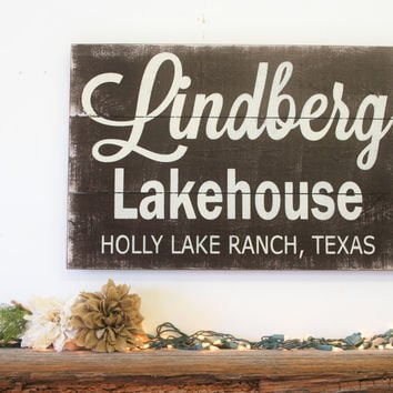 Lake House Sign Custom Wood Sign Pallet Sign Rustic Vintage Housewarming Gift Beach House Sign Personalized Wall Decor