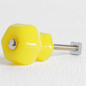 "Lemon Yellow Knobs, Glass 1 1/4"" Cabinet Knobs, Drawer Knobs, Dresser Knobs"