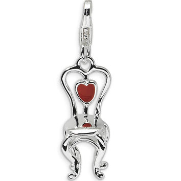 925 Sterling Silver 3D Enameled Red Heart Accent Vanity Chair Charm