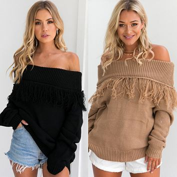 Female autumn and winter sexy strapless long-sleeved fringed sweater sweater long sweater