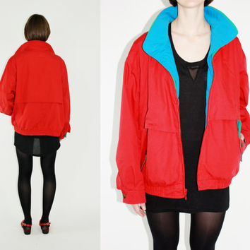 vintage london fog parka jacket colorblock jacket red windbreaker color block anorak primary colors casual anorak xl extra large unisex