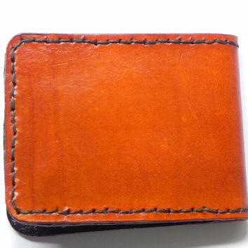 Handmade Carved Leather Mens Billfold Wallet Tooled Art Deco Bi-fold Gift Boxed