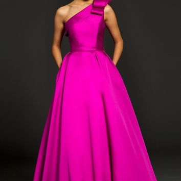 One shoulder taffeta gown 98249 - Evening Dresses