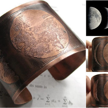 Moon Phase - Copper Cuff - Moon Bracelet - Moon Jewelry - Copper Jewelry - Copper Bracelet - Bracelet Cuff - Moon Cuff - Crescent Moon