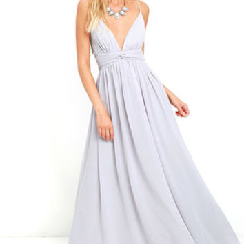 Evening Dream Light Grey Maxi Dress