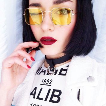 HAPTRON vintage yellow Clear sunglasses Women and men Eyeglasses Frames candy color sun glasses pink glasses