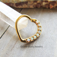 "Heart daith earring 16g white opal yellow gold cartilage piercing hoop prong set ear piercing ring 3/8"" diameter easy bend body jewelry bar"