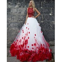 Unique Style Two Piece Prom Dresses Red and White Evening Gown Scoop Sleeveless Floral Vestidos de Festa