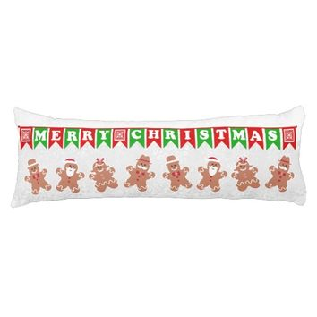 Merry Christmas Gingerbread Men Body Pillow