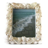 Beach Wedding Gift Seashell Frame  -Pearlized Seashell Picture Frame