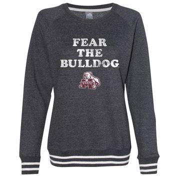 Official NCAA Mississippi State Bulldogs CL18MST45 Women's Crewneck Sweatshirt with White Striped Edges