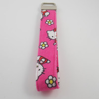 Hello Kitty Key Fob Hello Kitty Key Holder Pink Key Fob Grad Gift Hello Kitty Key Fob Floral Kitty Key Fob Teacher Key Fob ID Badge Holder