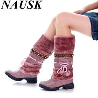 Russia Winter Warm Thickened Fur Over Knee High Heel Boots Women Shoes Fashion Sexy Botas Long Woman Footwear AH053 size 35-40