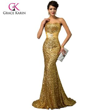 Grace Karin Gold Mermaid Evening Dress 2018 Luxury Red Blue Silver Black Formal Gown Robe de Soiree Sequins Evening Dresses
