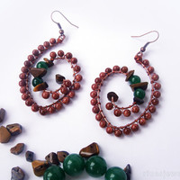 Sand stone spiral earrings - Unique copper spiral earrings - Spiral beaded earrings - Big spiral dangle earrings - Tribal earrings