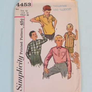 Simpility vintage 4453 sewing pattern size 12 boys sport shirts. made 1962