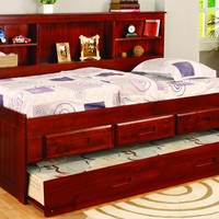 Sophie Daybed with Bookcase Headboard, Trundle, and Three Storage Drawers