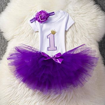 Ai Meng Baby Little Girl 1st First Birthday Outfits Toddler Infant Party Dress Newborn Baptism Kids Clothes For Girls Weddings