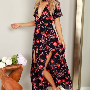 Short Sleeve Floral Maxi Dress Black/Red