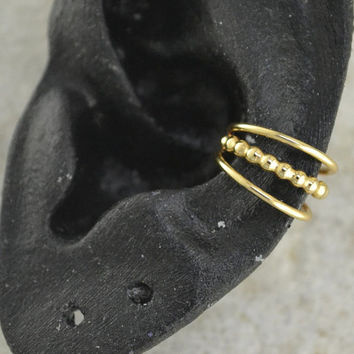 Triple with Bead Ear Cuff - 14K Gold Filled and Sterling Silver - SINGLE SIDE