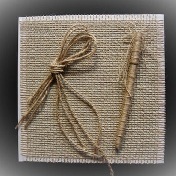 Rustic Wedding Guest Book and Pen, Burlap and Flax, Personalized Guest Book, Wedding Guestbook, Wedding Sign In Book, Country Wedding