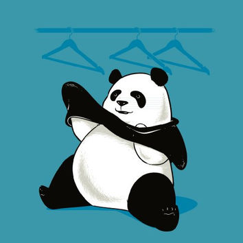 'Outfit' Funny Panda Bear Trying to Put on Clothes Vinyl Sticker