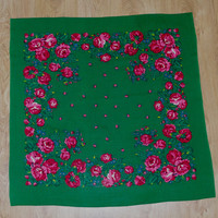 Vintage Green Polish Shawl / Russian Shawl / Ukrainian shawl / Floral square headscarf Roses / Neck scarf neckerchief Babushka kerchief USSR