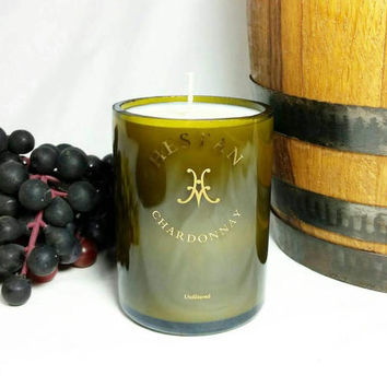 Recycled Miniature Wine Bottle Soy Candle Pomegranate Scent/Repurposed Chardonnay Hestan Winery Bottle/Upcycled Glass/Scented Candles