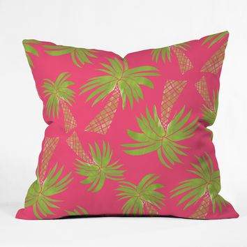 Allyson Johnson Summer Palm Trees Pink Throw Pillow