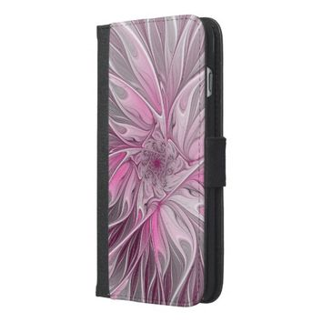 Fractal Pink Flower Dream, Floral Fantasy Pattern iPhone 6/6s Plus Wallet Case