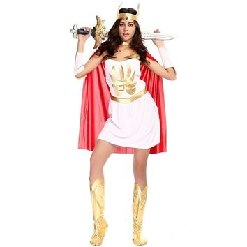 Cool Woman Goddess Athena Role play Halloween She-Ra Costume Female warrior Queen Cosplay Purim Carnival Masquerade Rave party dressAT_93_12
