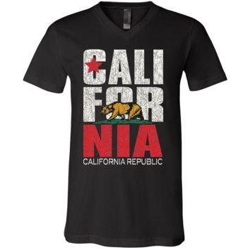 California Republic Vintage Retro Asst Colors V-Neck