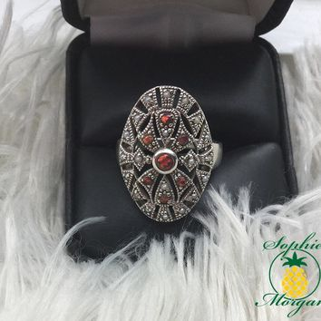 Sterling Silver .925 Ring with Fire Opals and Seed pearls- Brand New Ladies Ring