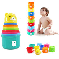 9pcs Set Colorful blocks Toys Plastic Cups Classic Sensory Education Toy Colorful Brilliant Stack Roll Cup Letters Number HOT