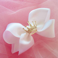 Large White Bow Infant/Toddler/Child Hair Clip Embellished with Sparkling Princess Crown