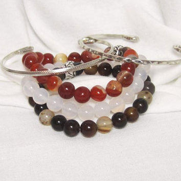Classic Agate Set of 5 Stacking Stretch Bracelet Trio - Red - Black - Natural White Agate