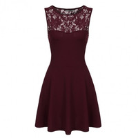 Women Sleeveless Lace Fit And Flare Cocktail Party Mini Skater Dress