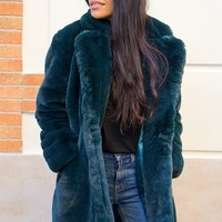 Sophie Oversize Faux Fur Coat - Green