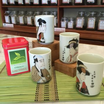 Japanese tea cups and a tin of tea for Mother's Day