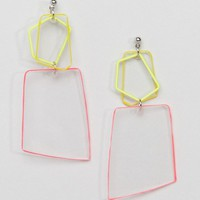 ASOS DESIGN Colored Edge Acrylic Shape Earrings at asos.com
