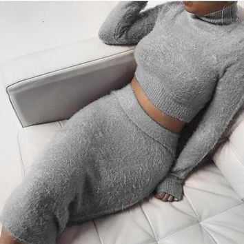 2018 New Autumn Winter Slim Bandage Bodycon Dress Women Sexy Club Casual Long Sleeve Turtleneck 2 Pieces Sweaters Dress Vestidos