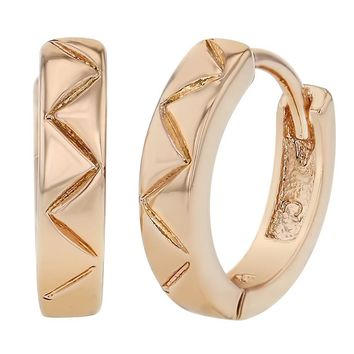 """Rose Gold Plated Triangle Wave Small Hoop Huggie Earrings for Women 0.47"""""""
