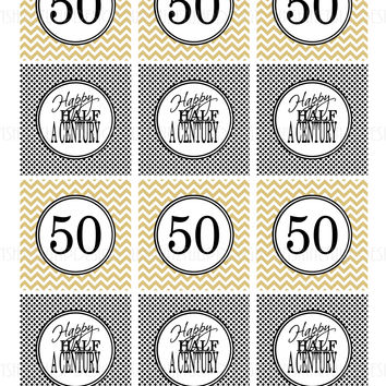 Printable 50th Birthday Half A Century Gold & Black Cupcake Toppers, Sticker Labels & Party Favor Tags