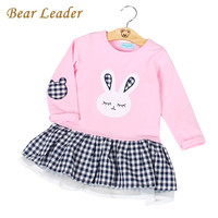Bear Leader Girls Dress  Spring Casual Style Baby Girl Clothes Long Sleeve Cartoon Bunny Print Plaid Dress for Kids Clothes