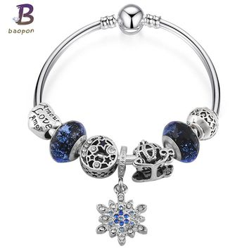 BAOPO Silver Plated Star&Moon Charm Bracelet for Women Fit Pandora Bracelet & Bangles Jewelry DIY Making Accessories