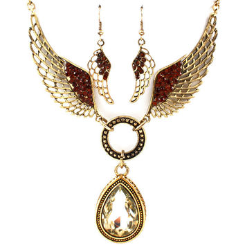 bronze angel wing necklace and earring set